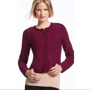 Cabi Burgundy Tweed Zip Up Jacket Size 10